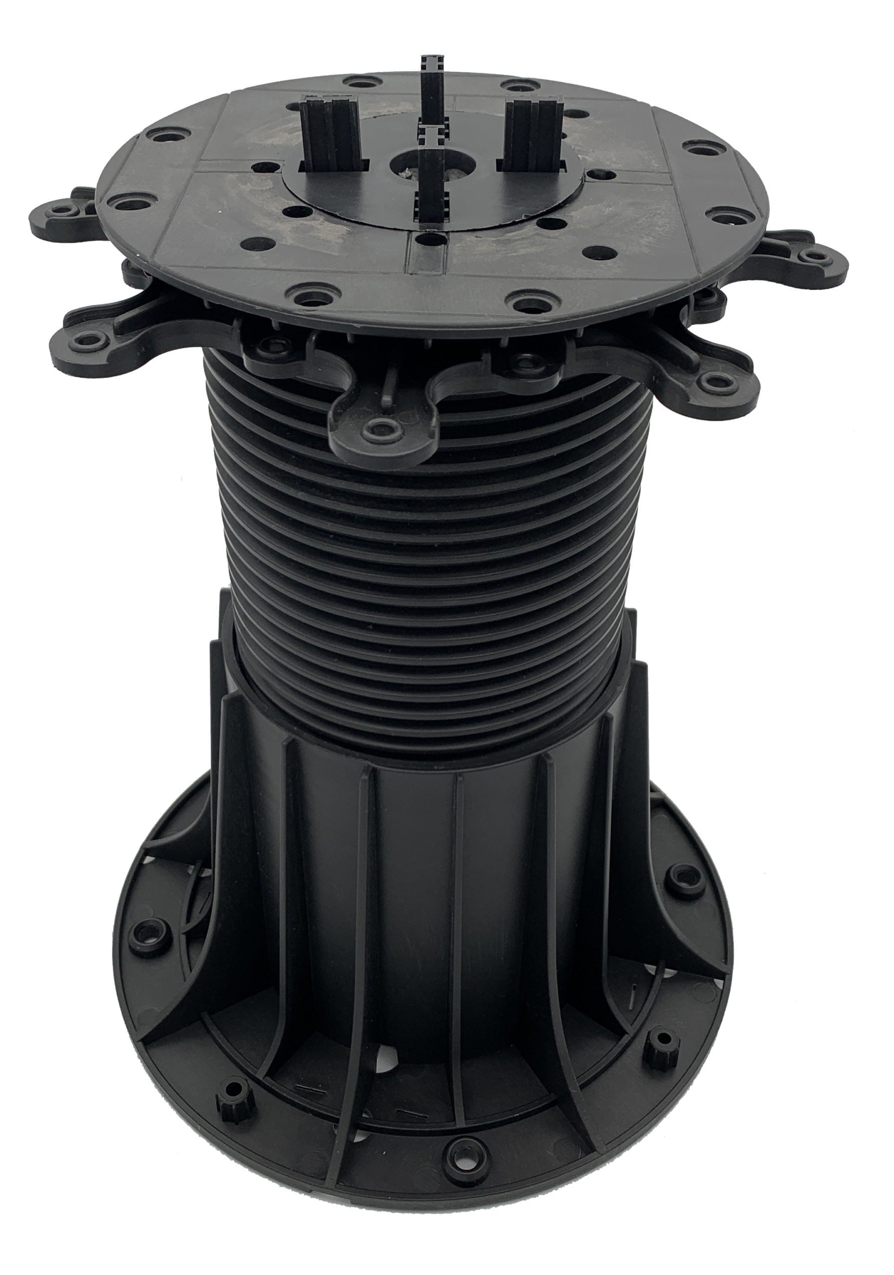 """Our SkyJack GRIT line of pedestals provide incredible strength at extreme heights.  With adjustability from 5.9"""" - 13.75"""", they make estimating pedestal heights easy.  Add on our SD-EXT-GRIT 8"""" extenders to achieve heights up to 38"""".  SkyJack GRIT pedestals allow you to level your pavers in seconds with adjustability using a drill from above.  SkyJack Pedestals are the fastest installing pedestal paver system on the market!"""